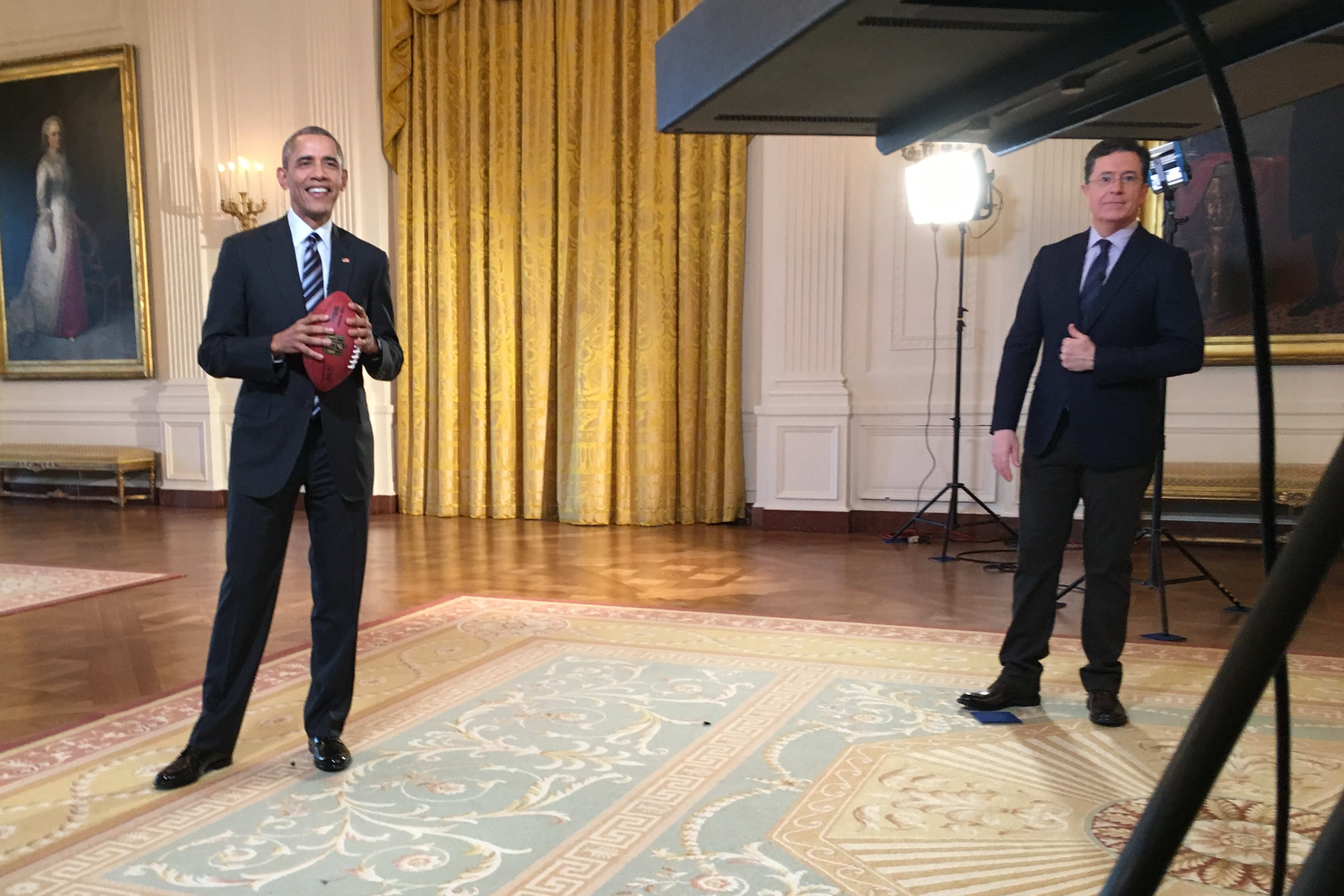 President Obama and Stephen Colbert for the post Super Bowl Late Show
